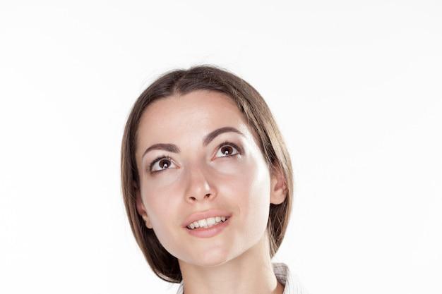 아름다운 비즈니스 여자의 얼굴의 근접 촬영 사진