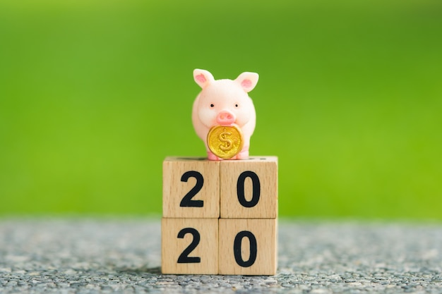 Closeup piggy bank standing on 2020 wooden block