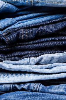 Closeup of pile of jeans