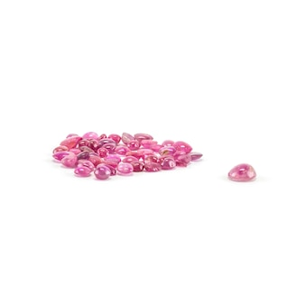 Closeup pile of pink pebble isolated on white