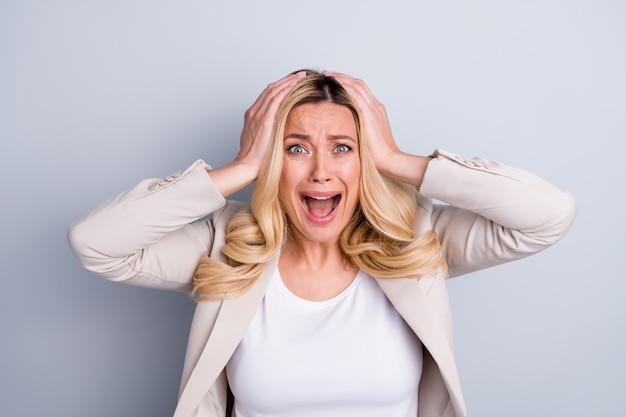 Closeup portrait of attractive devastated insane miserable business lady shout