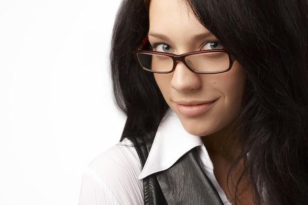 Closeup portrait of beautiful bussineswoman in white suit