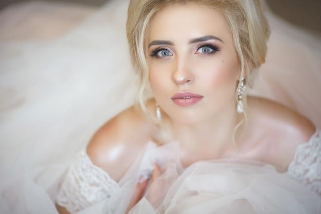 Closeup portrait of a beautiful young bride