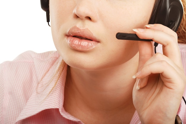Closeup portrait of female customer service representative or call center worker