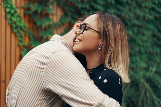 Closeup portrait of a loving couple