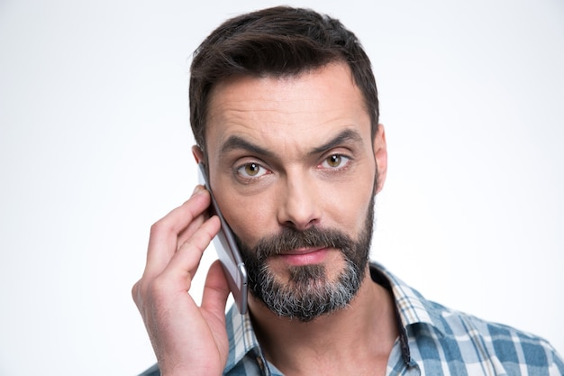 Closeup portrait of a man talking on the phone