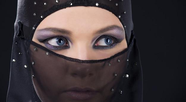 Closeup portrait of ninja face in the dark
