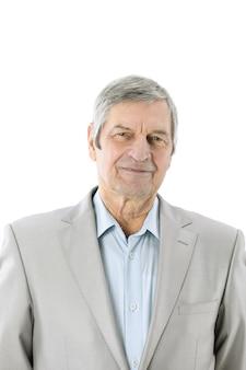 복사 공간이 흰 벽 .photo에 수석 businessman.isolated의 closeup.portrait