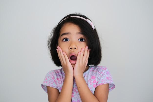 ショックを受けた顔の表情を示すアジアの少女のクローズアップの肖像画