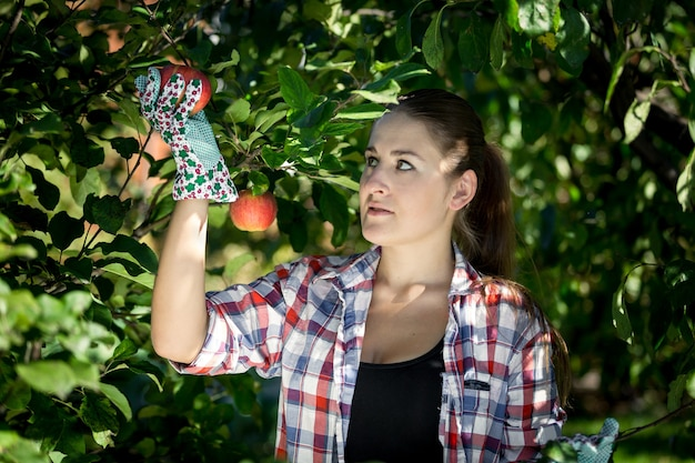 Closeup portrait of young woman collecting apples at garden