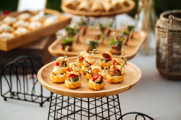 Closeup on the profiterole bruschetta appetizers
