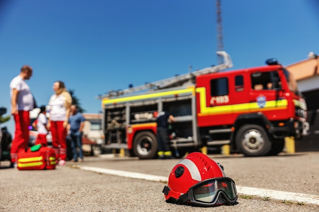 Closeup of protective helmet.