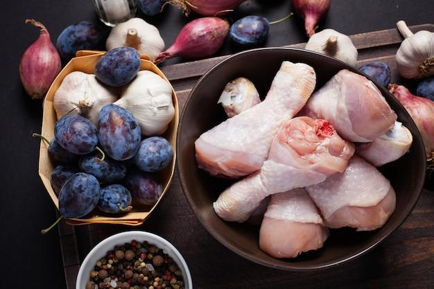 Closeup of raw chicken thighs.
