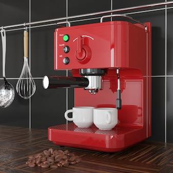 나무 테이블에 검은 타일 벽 앞에 근접 촬영 레드 에스프레소 커피 만드는 기계. 3d 렌더링