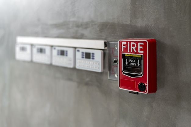 Closeup red fire alarm box