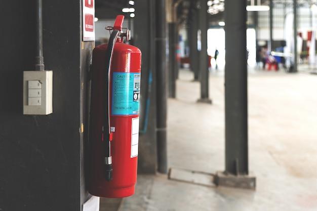 Closeup red fire extinguisher