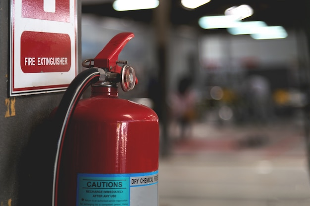Closeup red fire extinguisher