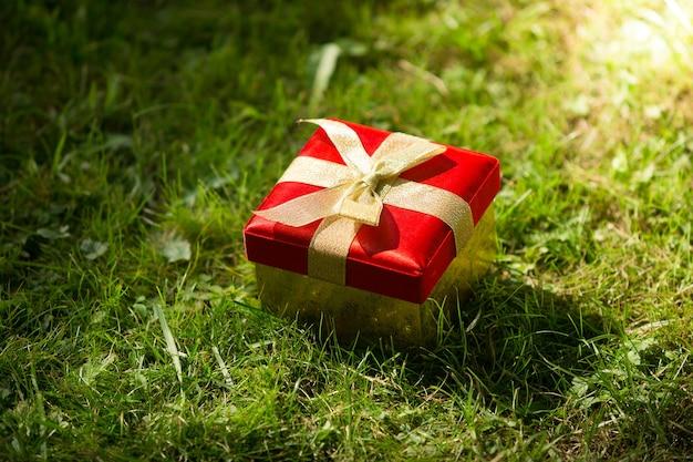 晴れた日に牧草地に横たわるクローズ アップの赤いギフト ボックス