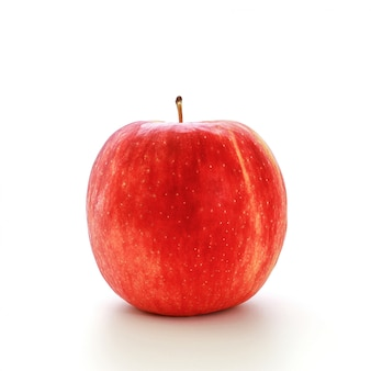 Closeup red jazz apple isolated on white.