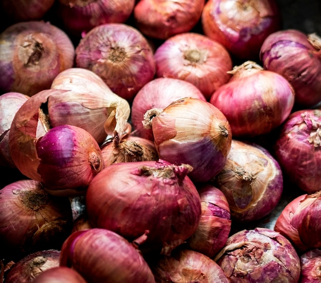 Closeup of red onions cooking ingredients