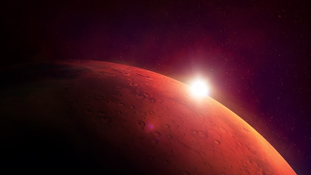 Closeup of the red planet mars and sun glare