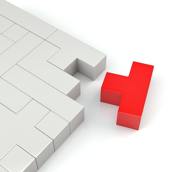 Closeup of a red puzzle made with blocks of different shape and color. 3d rendering