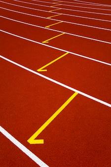 Closeup of the red stadium running track