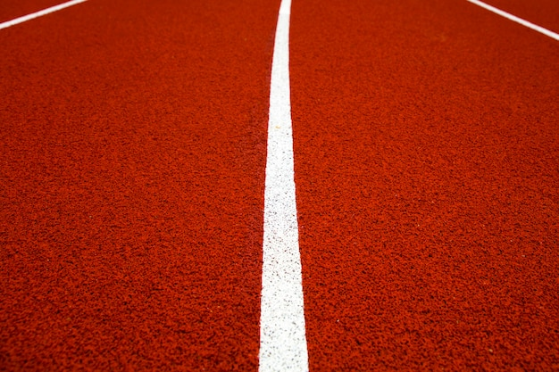 Closeup of the red stadium running track