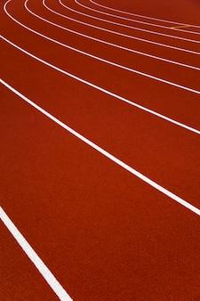 Closeup of the red stadium running tracks