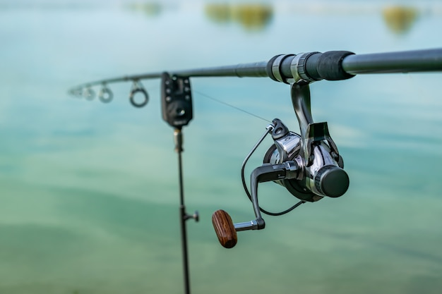 Closeup of a reel fishing rod