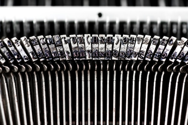 Closeup of retro typewriter