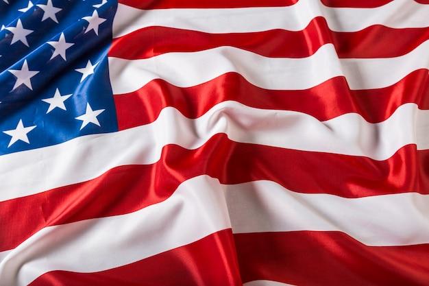 Closeup of ruffled american flag background