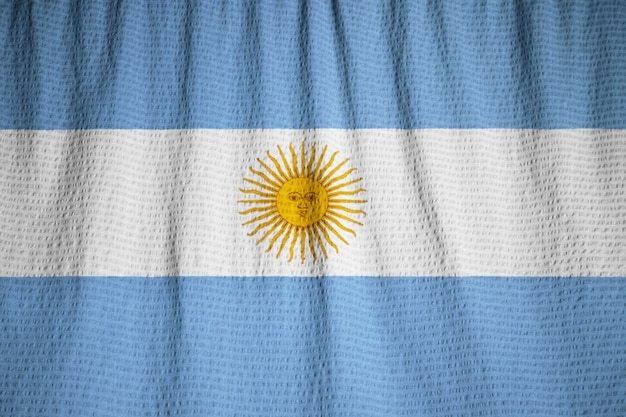 Closeup of ruffled argentina flag, argentinaflag blowing in wind