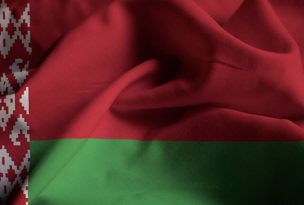 Closeup of ruffled belarus flag, belarus flag blowing in wind