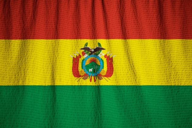 Closeup of ruffled bolivia flag, bolivia flag blowing in wind