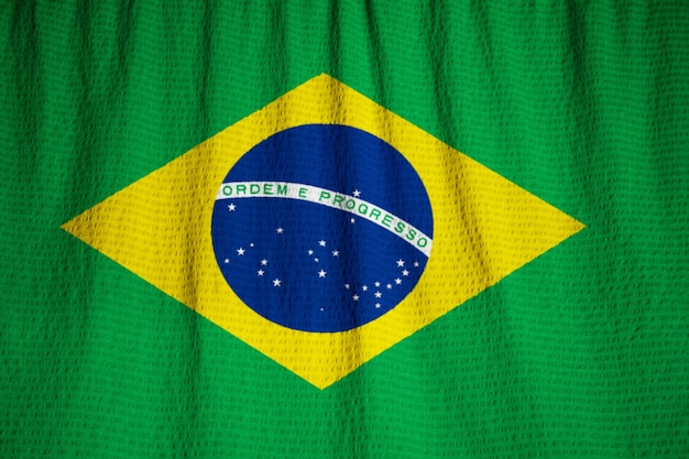 Closeup of ruffled brazil flag, ​brazil flag blowing in wind