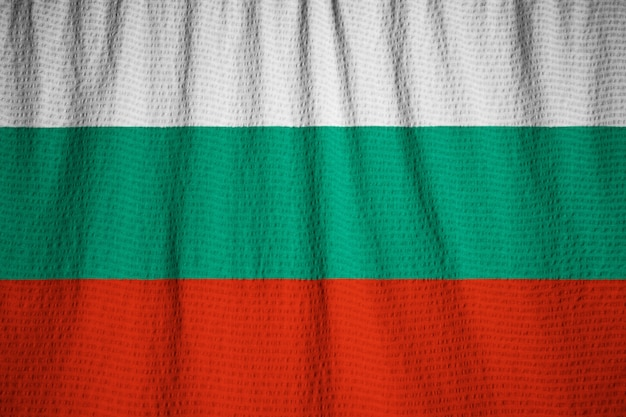 Closeup of ruffled bulgaria flag, bulgaria flag blowing in wind