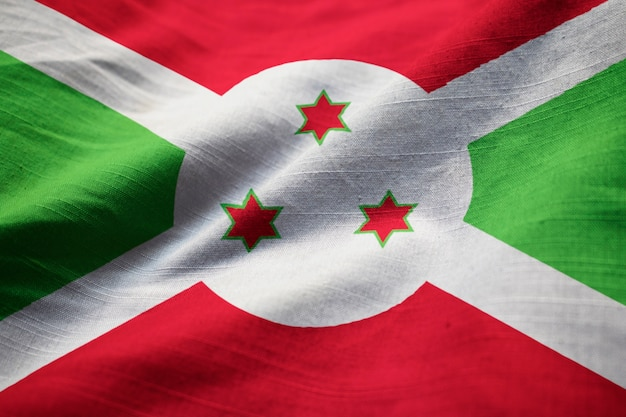 Closeup of ruffled burundi flag, burundi flag blowing in wind