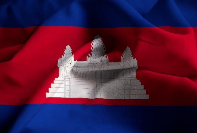 Closeup of ruffled cambodia flag, cambodia flag blowing in wind
