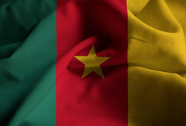 Closeup of ruffled cameroon flag, cameroon flag blowing in wind