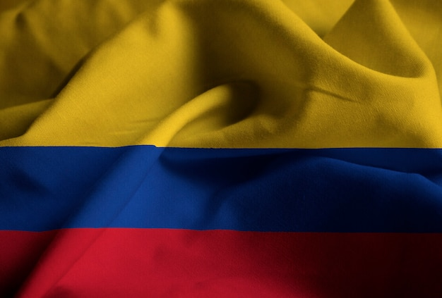 Closeup of ruffled colombia flag, colombia flag blowing in wind