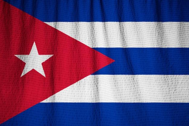 Closeup of ruffled cuba flag, cuba flag blowing in wind