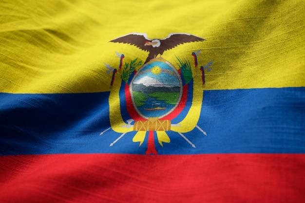 Closeup of ruffled ecuador flag, ecuador flag blowing in wind