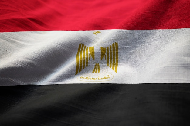 Closeup of ruffled egypt flag, egypt flag blowing in wind