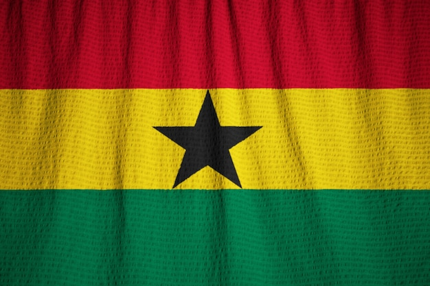 Closeup of ruffled ghana flag, ghana flag blowing in wind