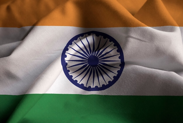 Closeup of ruffled india flag, india flag blowing in wind