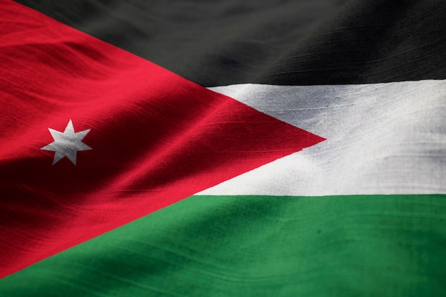 Closeup of ruffled jordan flag, jordan flag blowing in wind
