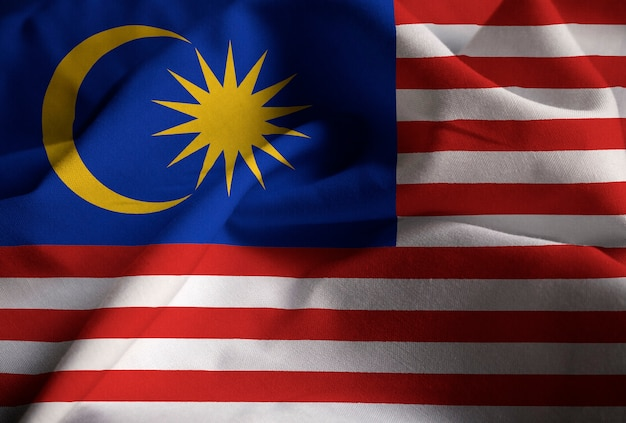 Closeup of ruffled malaysia flag, malaysia flag blowing in wind