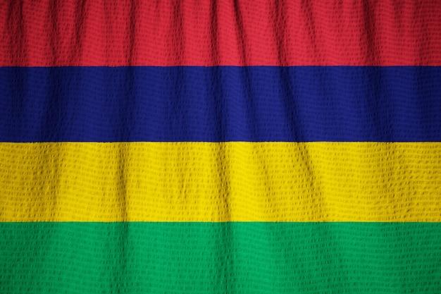 Closeup of ruffled mauritius flag, mauritius flag blowing in wind