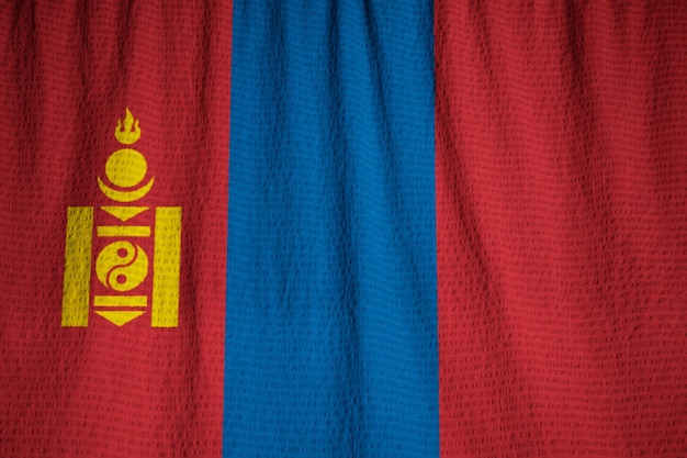 Closeup of ruffled mongolia flag, mongolia flag blowing in wind